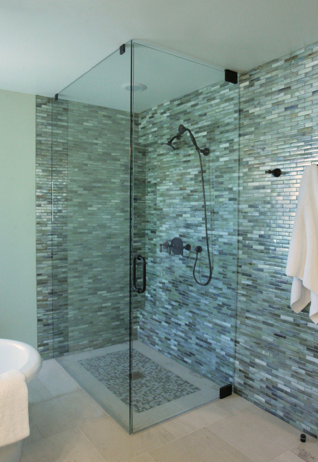 Green glass bathroom tile - Glass Shower With Graceful Blue And Green Plaid Blue Bathroom Glass Tile For Shower Wall With