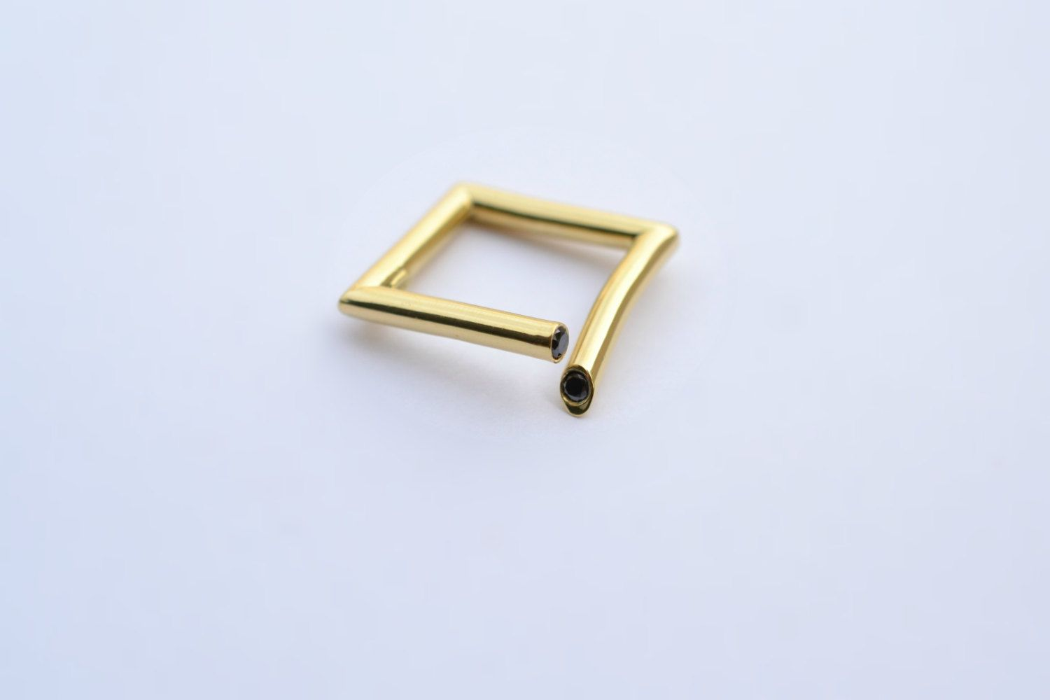 Square Design and Black Diamod Ring 18K Yellow Gold by ViazisJewelry on Etsy