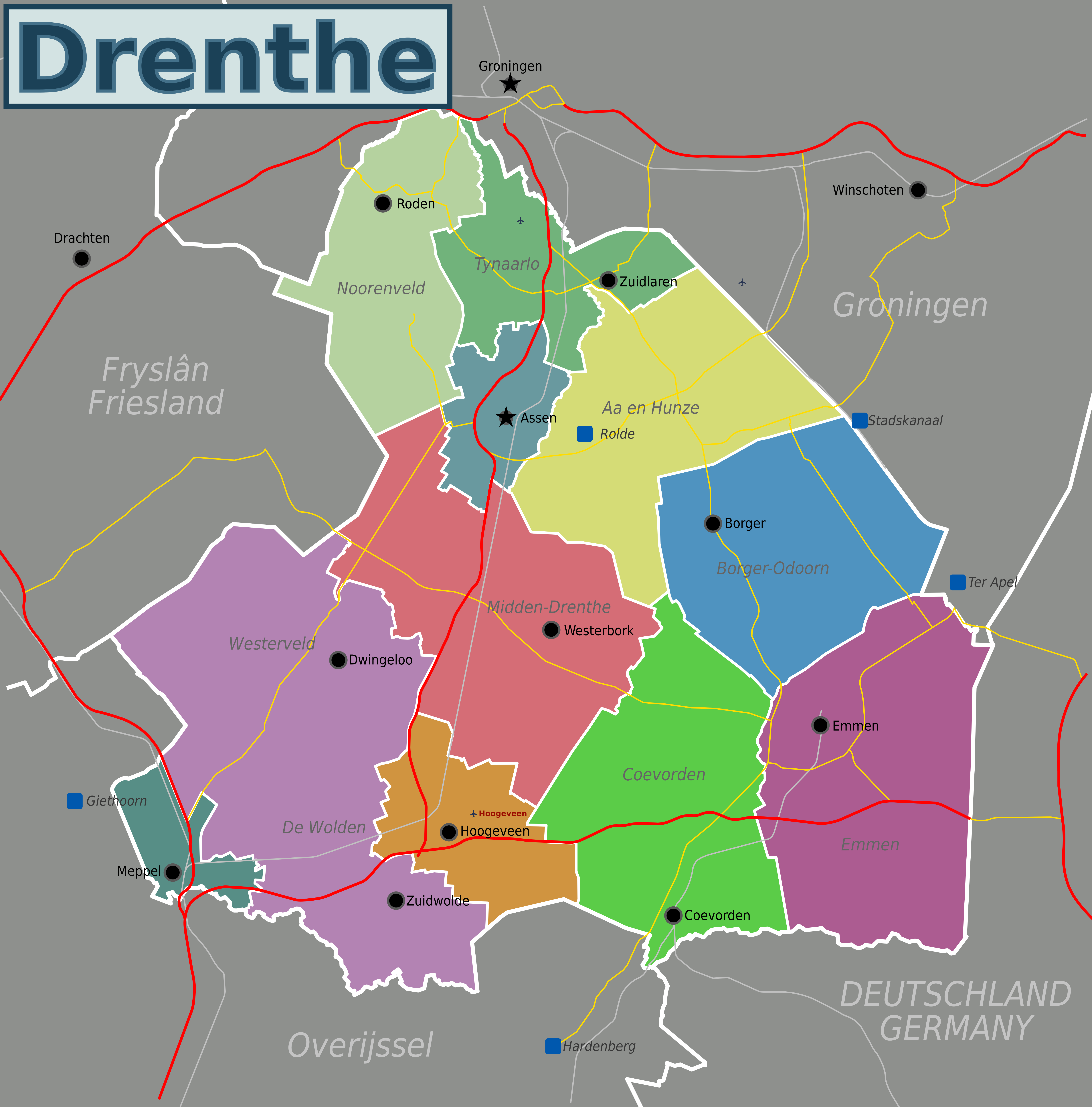 Map of the Dutch province of Drenthe Netherlands created for use on