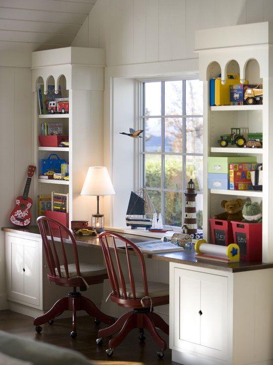 Images Of Desks Under Windows Built In Desk Under Window Design Hsh Built In Desks Built In Desk Home Office Cabinets Home