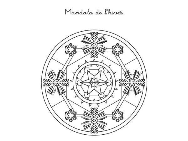 Coloriages d 39 hiver le mandala coloriages enfant - Mandala paysage ...