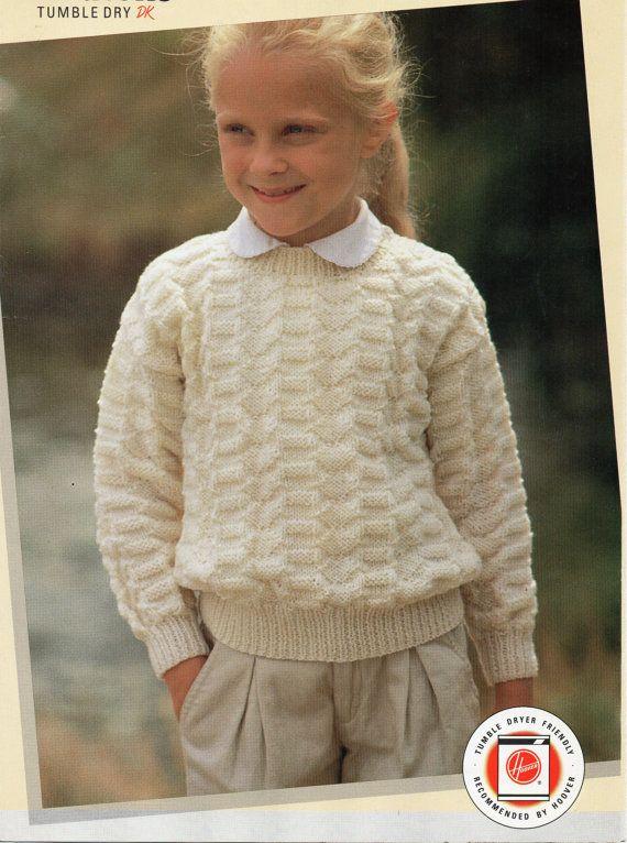 Baby Toddler Childrens Sweater Knitting Pattern Crew Neck Jumper 22