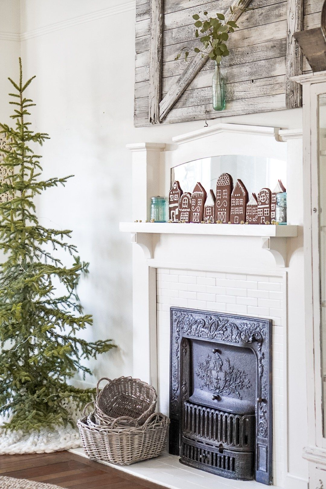 simple vintage farmhouse christmas decor ideas gingerbread village white christmas decor - Vintage Farmhouse Christmas Decor