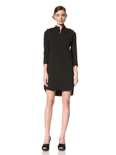 Magaschoni Women's Long Sleeve Shirt Dress (Black)
