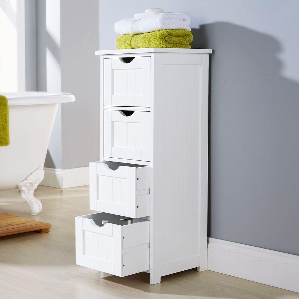 Shaker style 4 drawer bathroom cabinet standing storage unit ...