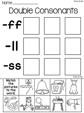 double consonants ff ll ss zz worksheets activities no prep. Black Bedroom Furniture Sets. Home Design Ideas
