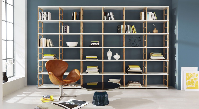 Wohnzimmer bibliothek ~ Bücherregal modulare bücherwand im wohnzimmer regalsystem maxx