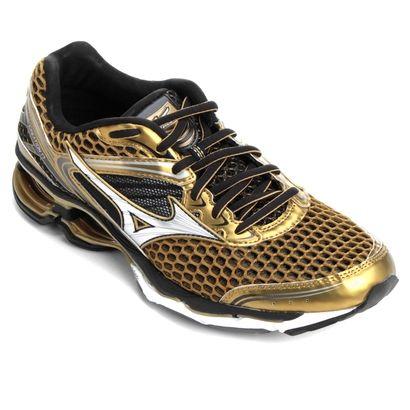 7fa4957f92ad2 Tênis Mizuno Wave Creation 17 Golden Runners Masculino Dourado e Preto    Netshoes