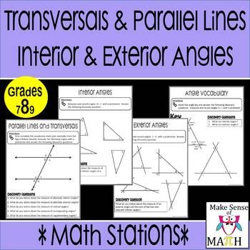 Transversals and parallel lines interior exterior angl also rh pinterest