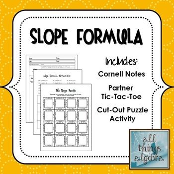 Slope Formula Notes \ Activities Cornell notes, Activities and Math - cornell note