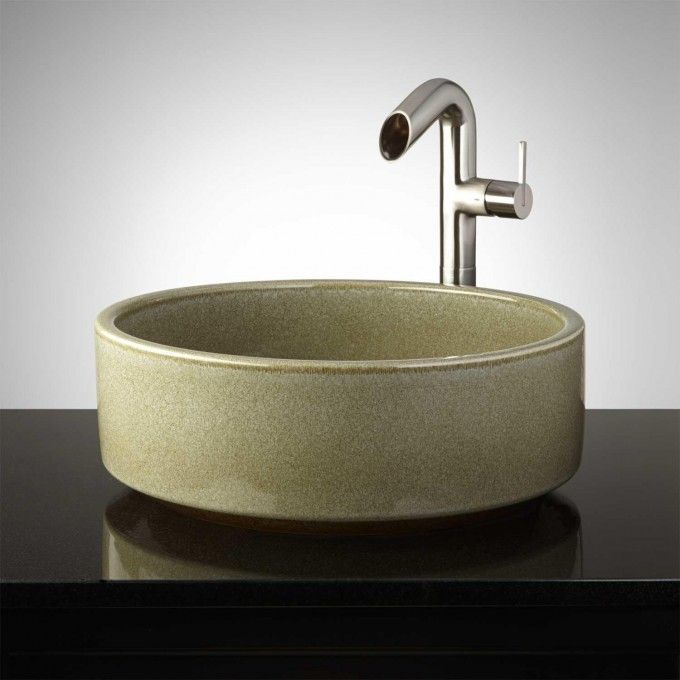 Oglesby Hand-Glazed Pottery Vessel Sink - Toasted Sage New - Vessel Sinks Bathroom