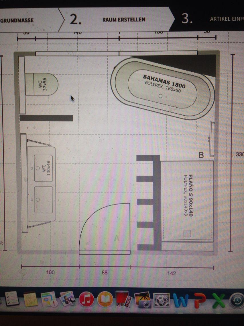 Grundriss Badezimmer mit gemauertem Regal