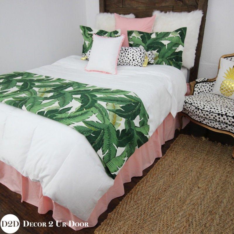 Hottest Apartment Bedding Custom Palm Leaf Pink Custom Designer Apartment Bedding Collection Tropical Bedroom Decor Tropical Bedrooms Apartment Bedding