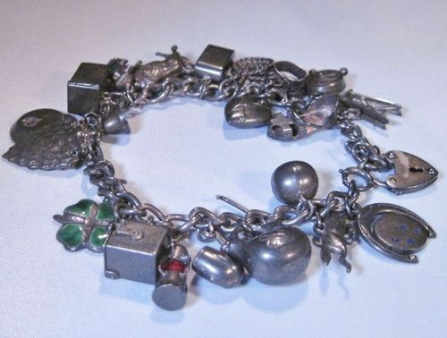 Vintage Charm Bracelet Sterling 24 Charms Lin 166 | eBay