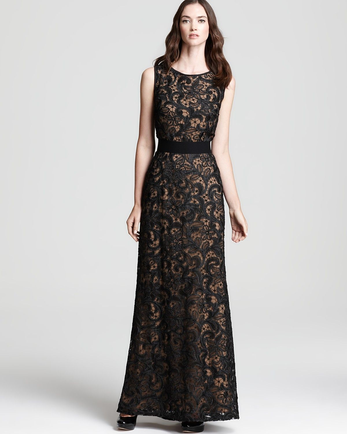 T by Tadashi Lace Gown - Sleeveless | Bloomingdale's