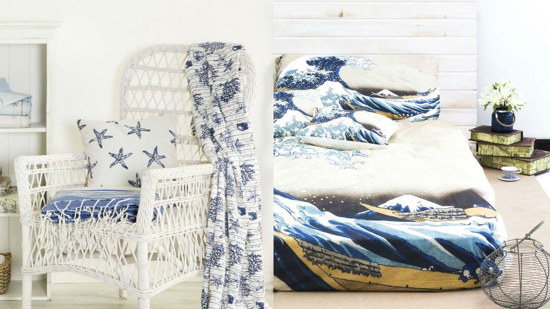 Dalani, Mare, Stile Underwater Poltrona in Vimini con Coralli Blu e Lenzuola con Stampa Dipinto Hokusai