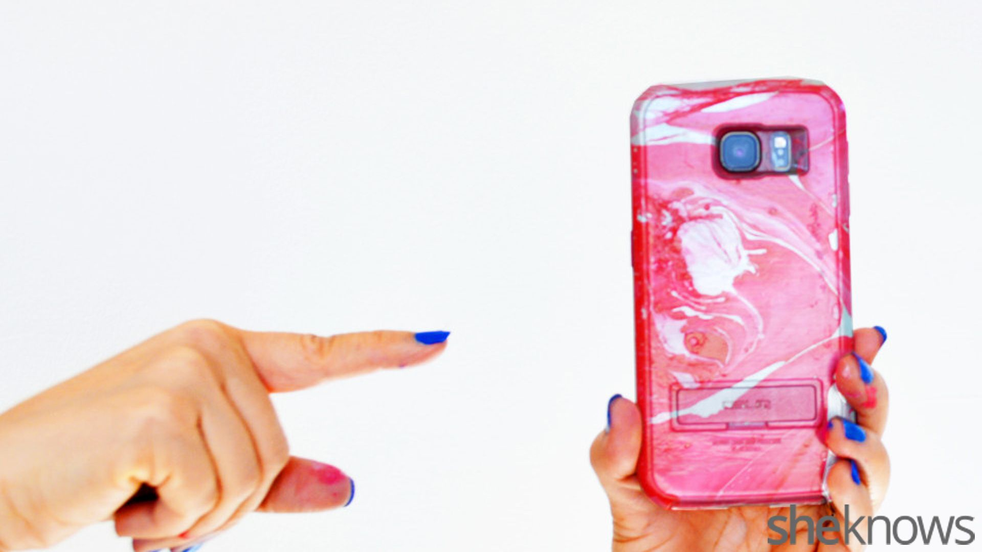 DIY water marble cell phone case is super easy to make