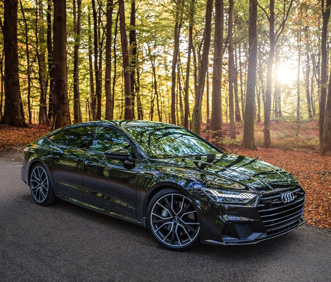 The Beautiful Lines Of The Fully Loaded New A7 And Some Beautiful Autumn Colors In The Forest Are You A Fan Ca Audi Beautiful Lines Car