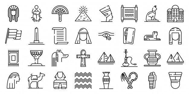Egypte Jeu D'icônes, Style De Contour   Graphiques vectoriels, Vecteur, Icone gratuit