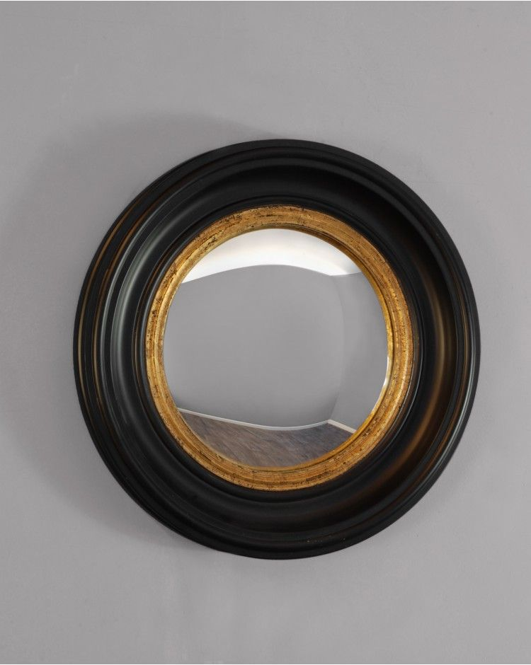 Mirrors coleridge small round black and gold convex glass Round framed mirror