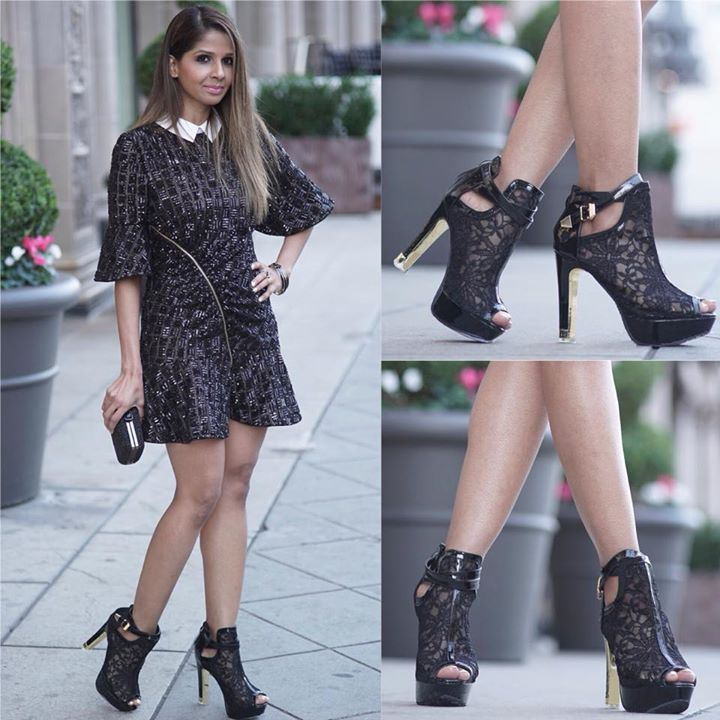 Black Sequin Dress By Self Portrait Clutch By Nordstrom Shoes By