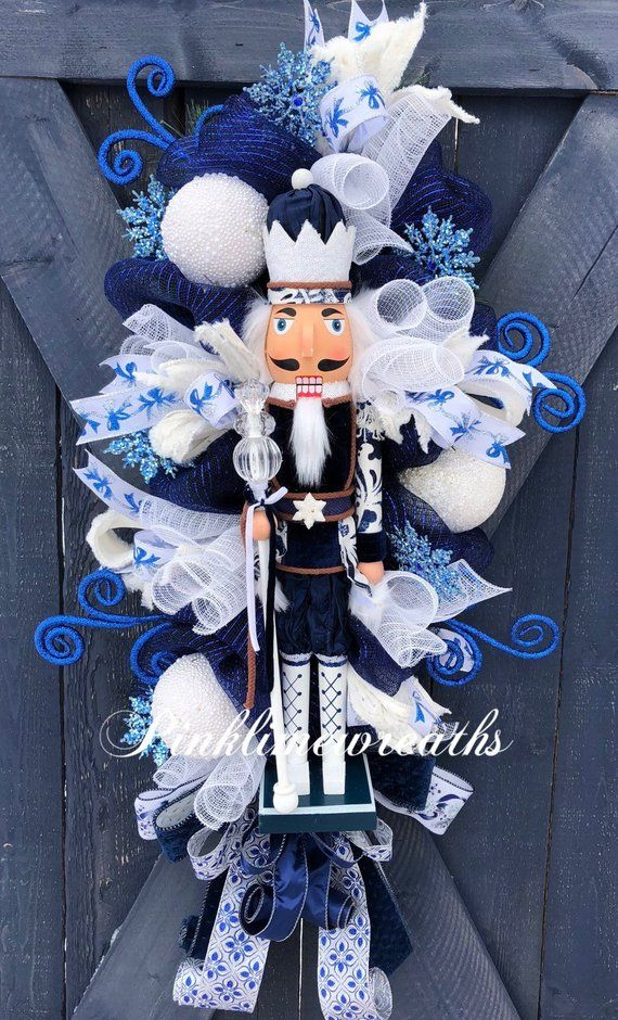 Photo of Nutcracker wreath, holiday wreath, nutcracker, blue white Christmas wreath,  luxury holiday wreath, Christmas wreath for front door, swag