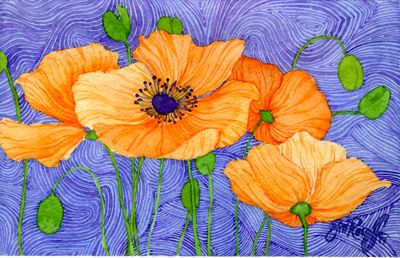 Blue Backgrounds With Poppies And Fun Things Going On Fresh