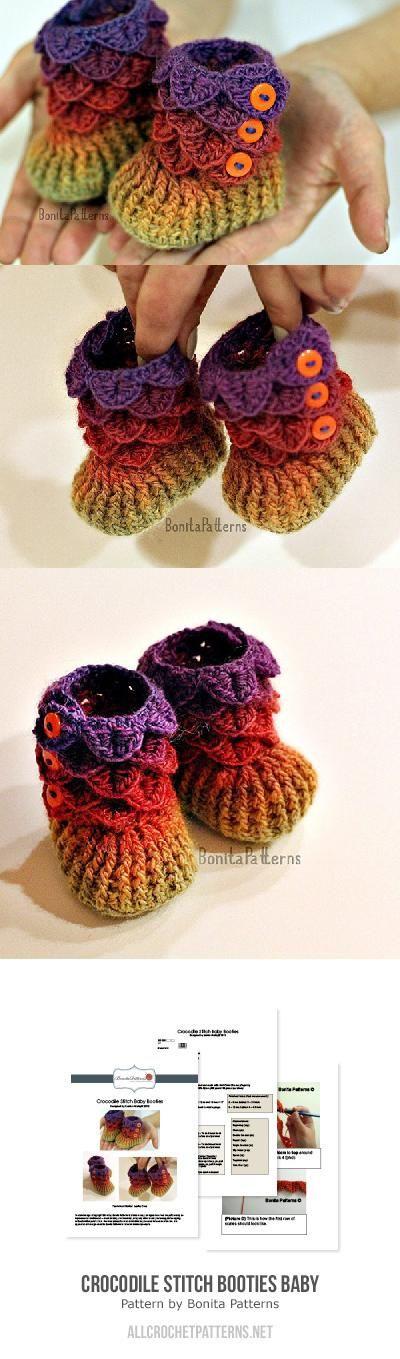 Crocodile stitch booties (baby size) crochet pattern by Bonita ...