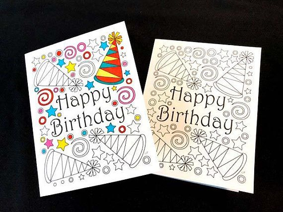 Happy birthday card with party hats and stars pdf zentangle happy birthday card with party hats and stars pdf zentangle printable greeting card to color m4hsunfo