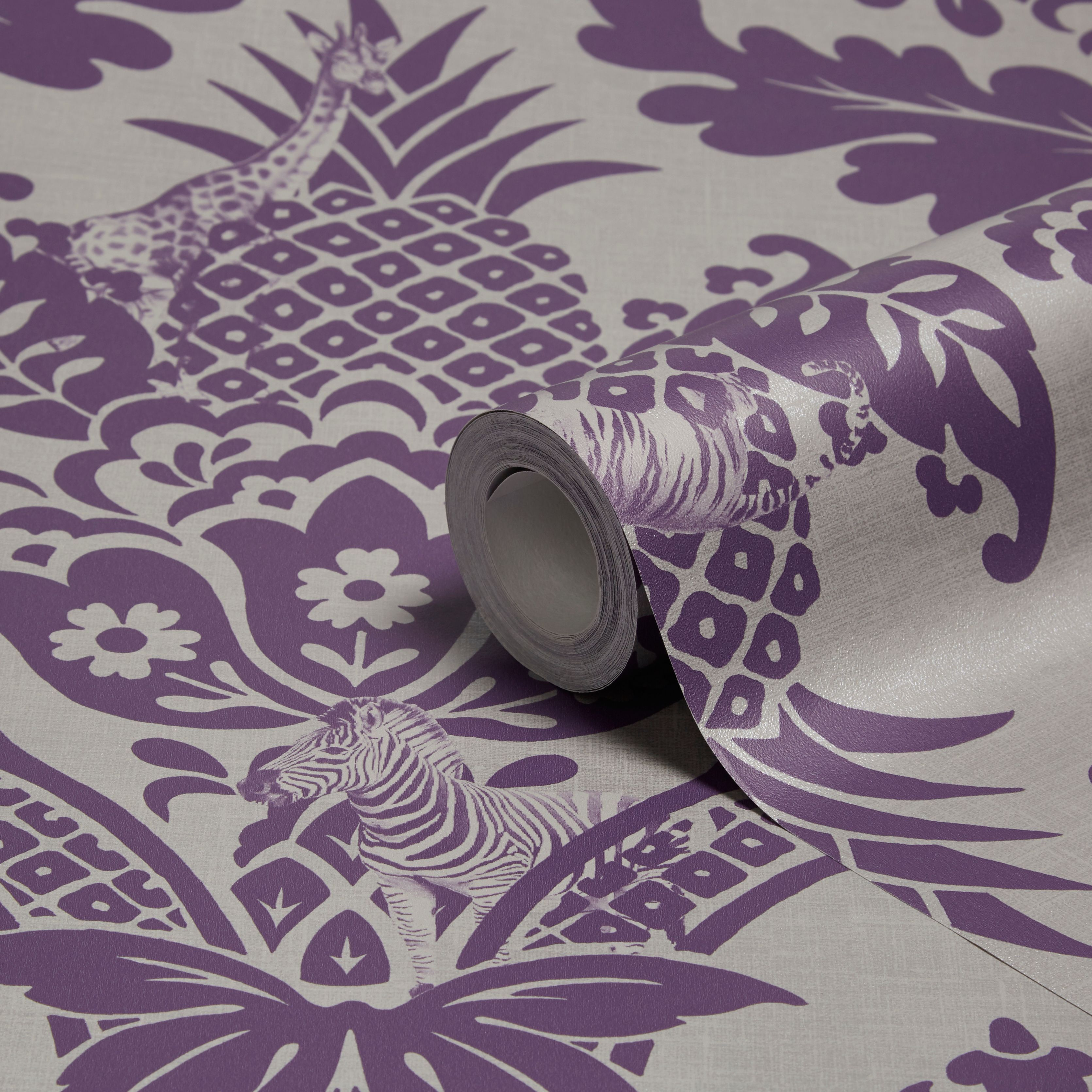 Holden Décor Bengal Purple Damask Wallpaper Damask Wallpaper - B q bedroom designs
