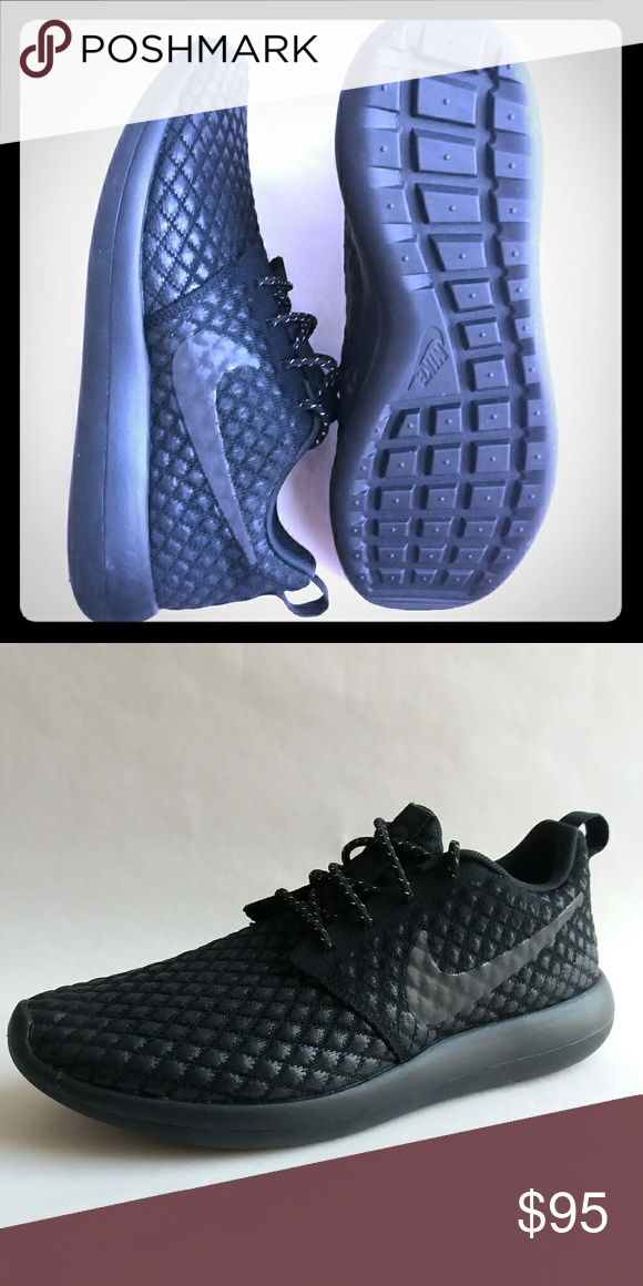 3fb22e9bfa89 Nike Roshe 2 Flyknit 365 Rosherun Triple Black New Nike Roshe 2 Flyknit 365  Running Shoes