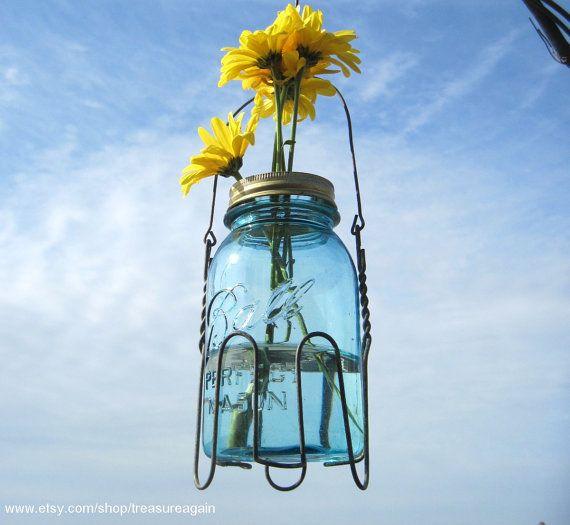 Flower Frog Upcycled QUART Mason Jar Wire Basket By