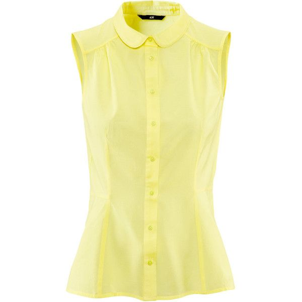 H&M Blouse (90 SEK) ❤ liked on Polyvore featuring tops, blouses, shirts, sleeveless tops, tanks, light yellow, round collar shirt, no sleeve shirt, sleeveless shirts and sleeveless cotton blouse