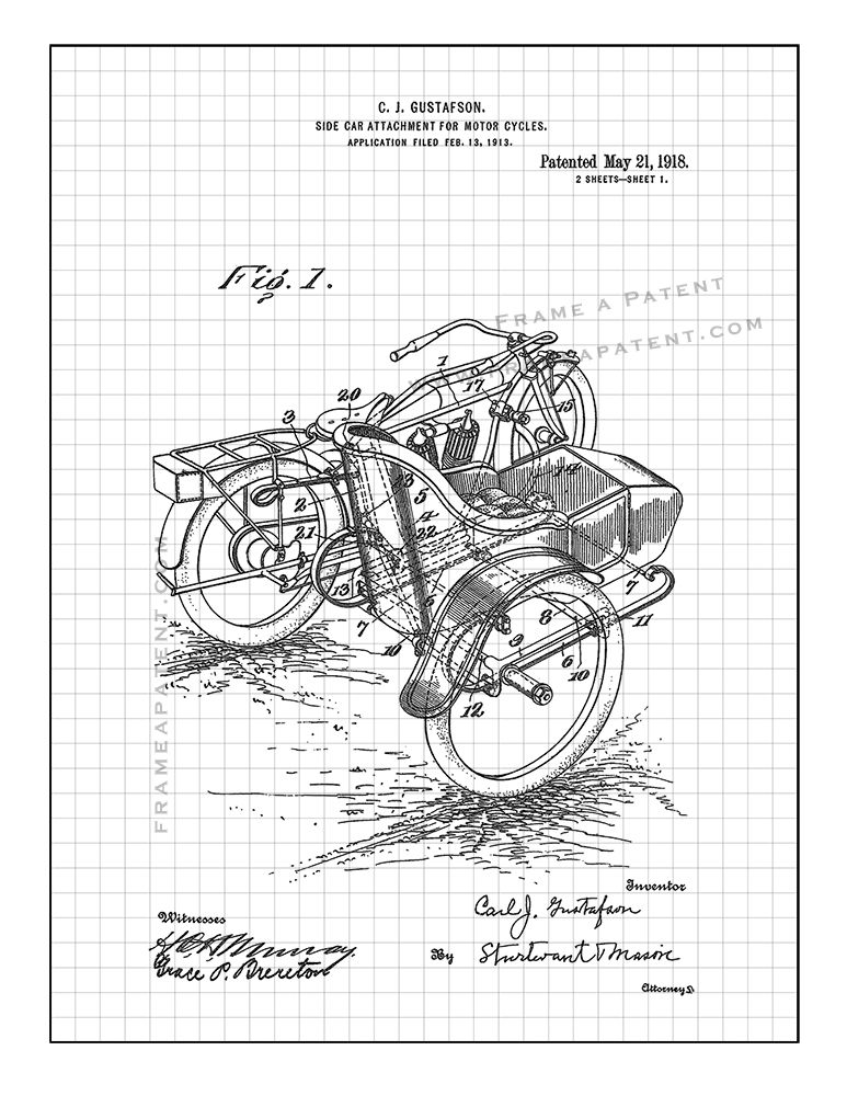 Side Car Attachment For Motor Cycles Patent Print