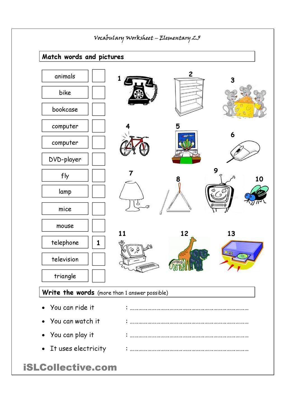 Worksheet Elementary Vocabulary Worksheets vocabulary matching worksheet elementary 2 5 adaptaciones 5