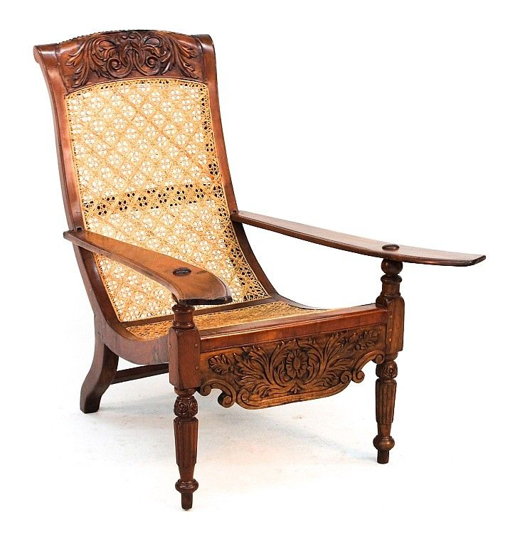 Colonial Mahogany Plantation Chair probably Caribbean, 19th century. carved  crest rail, elongated arms, cane seat, turned legs; together with similar  ... - Colonial Mahogany Plantation Chair Probably Caribbean, 19th Century