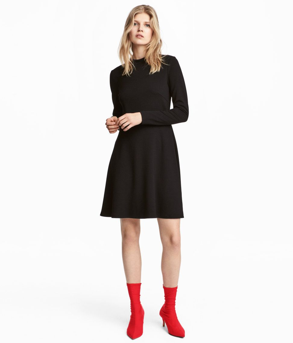 41e61f10e8d5f7 Short dress in thick jersey. Small stand-up collar, long sleeves, concealed  zip at back, seam at waist, and flared skirt. - Visit hm.com to see more.