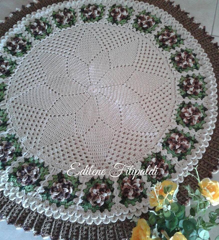 Tapete Redondo Com Flores Angela Pinterest Crochet Crochet  -> Tapete Para Sala De Barbante Redondo
