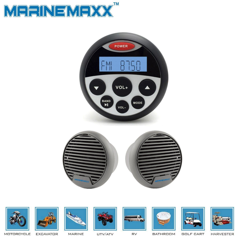 Marinemaxx Waterproof Marine Gauge Radio With Usb Audio Bluetooth Stereo Receiver And 1 Pair 3 Inch Water Marine Stereo Waterproof Bluetooth Bluetooth Receiver