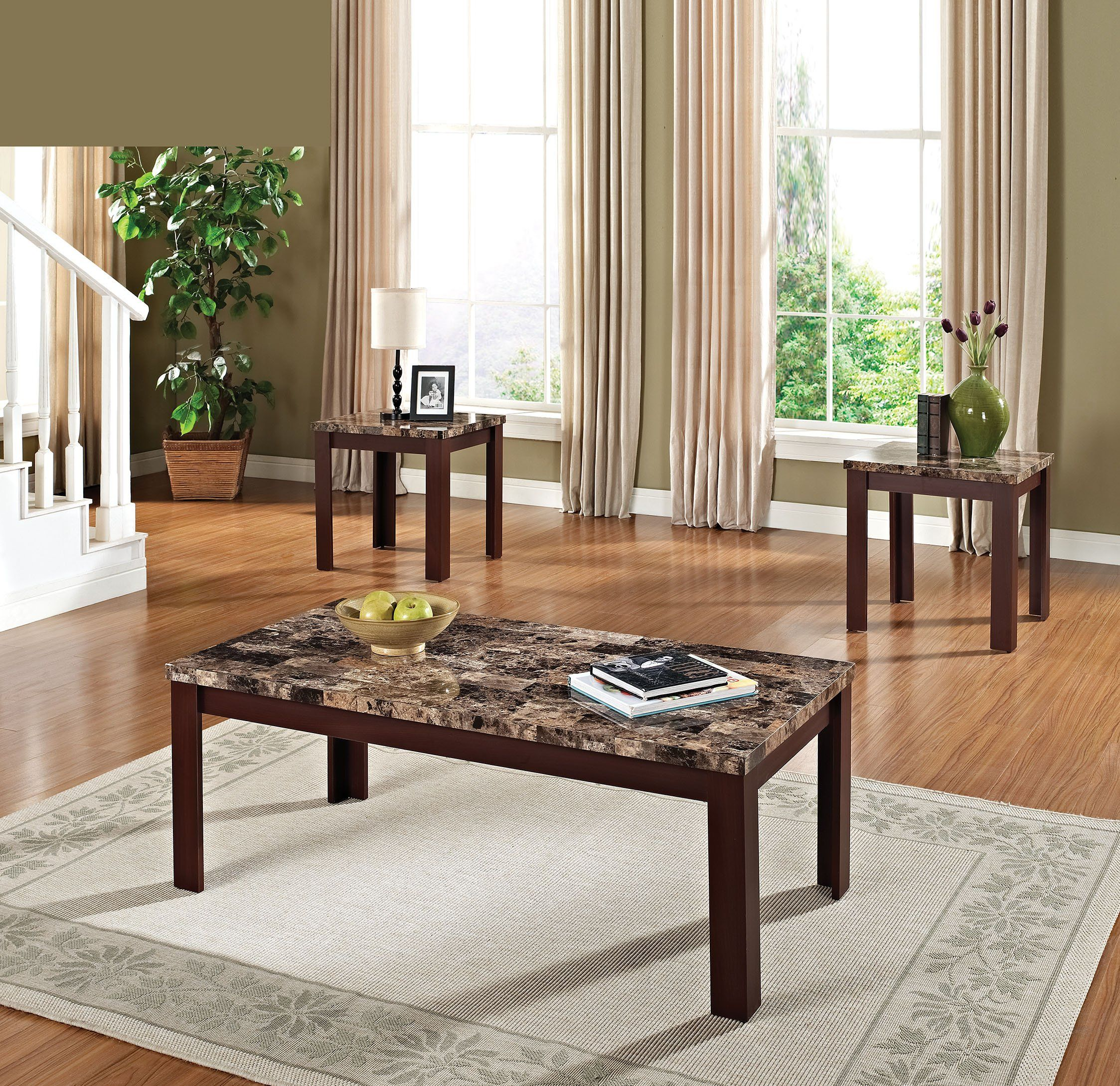 ACME Finely 3Pc Pack Coffee End Table Set Light Brown Faux Marble