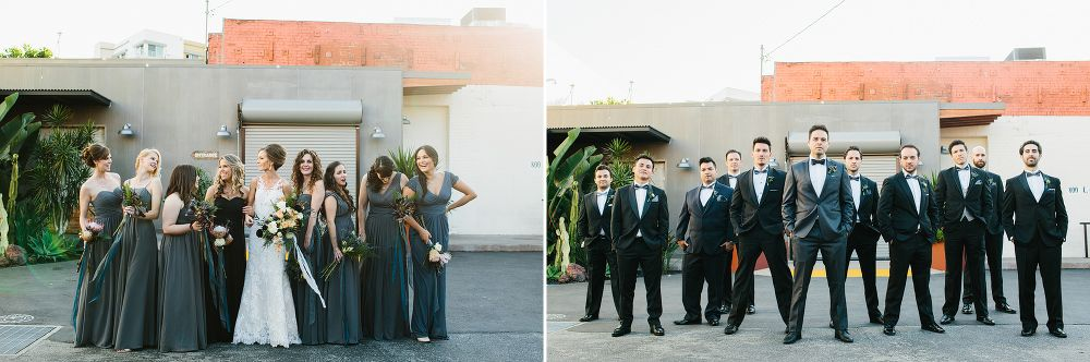 The bride with the bridesmaids and groom with the groomsmen.