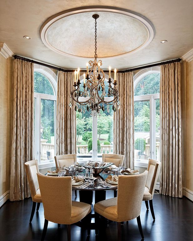 Elegant Transitional Dining Room With Ceiling Dome; Dining
