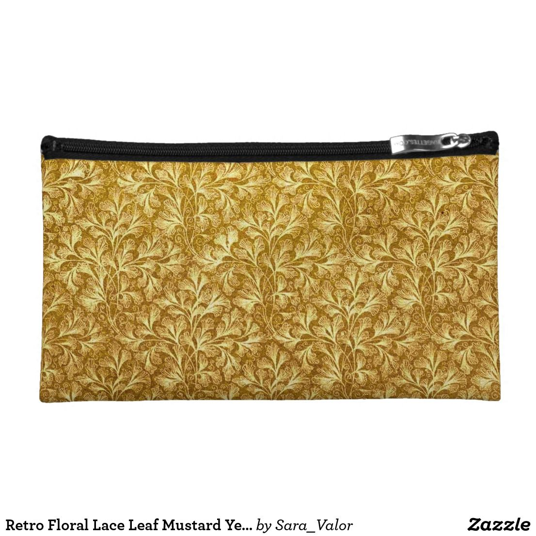 Retro Floral Lace Leaf Mustard Yellow Bagettes Makeup Bag