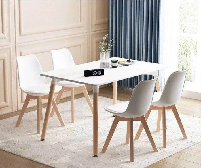 Ensemble Table A Manger 4 Chaises Blanches Scandinave Soldes