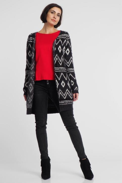 Kardigan Damski Fluffy Grafitowy Sublevel S 7660710555 Oficjalne Archiwum Allegro Fashion Sweaters Bomber Jacket