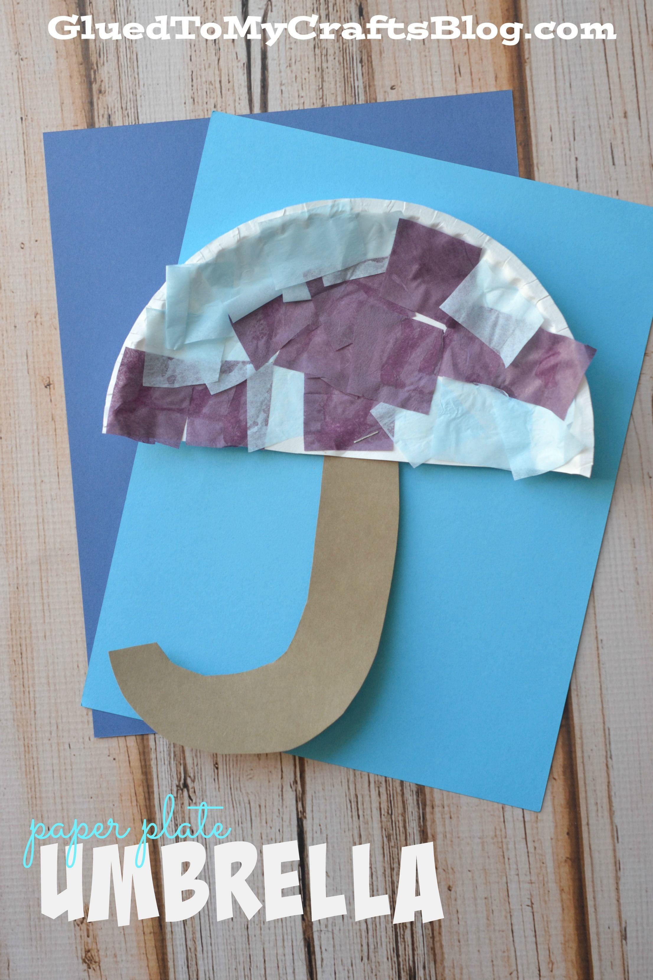 Paper Plate Umbrella Kid Craft