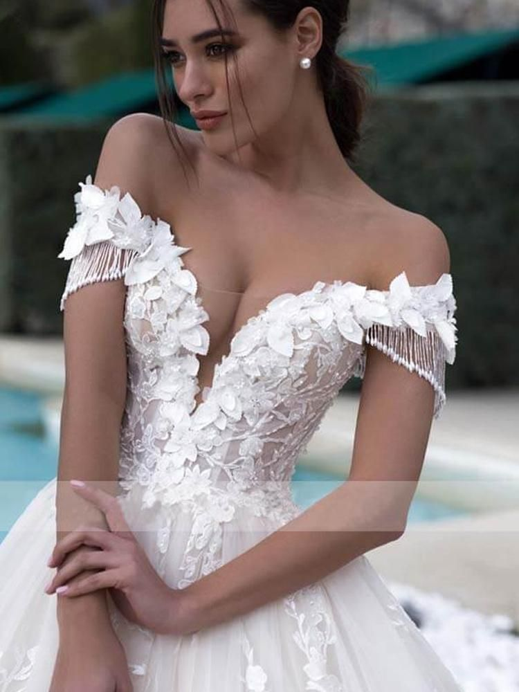 onlybridals Sexy Illusion Boat Neck A Line Wedding Dress Off Shoulder Tassel Sleeve Lace Appliques Wedding Bridal Gown