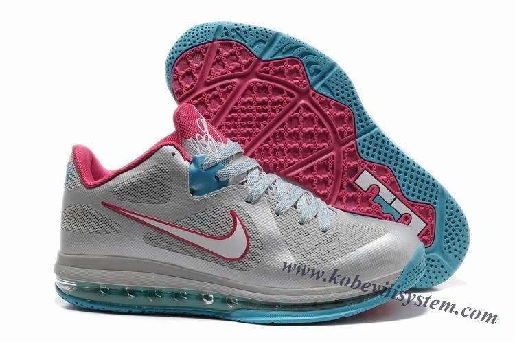 c82e4db2566b Nike LeBron 9 Low Wolf Grey White Dynamic Blue Fireberry 510811-002 ...
