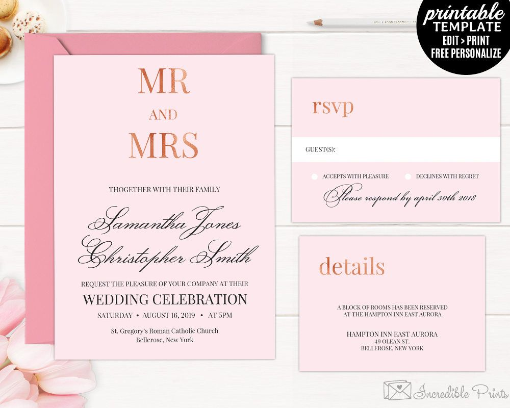 rose gold wedding invitation set printable rose gold wedding