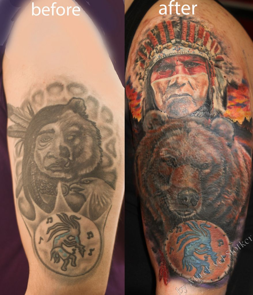 9272b9d6c cover up with bear and Indian tattoo by Mirek vel Stotker | Bear ...